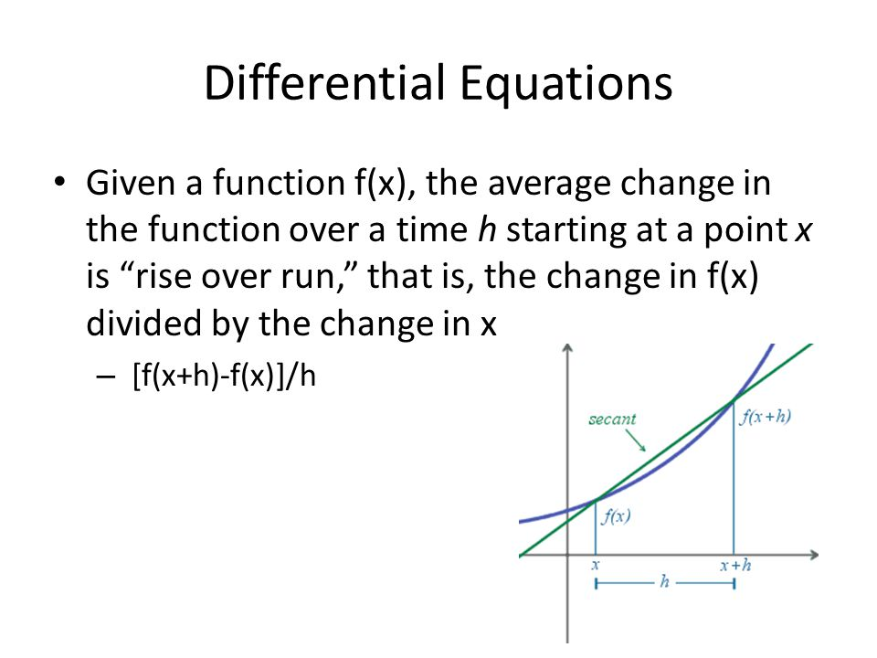 "Differential Equations Given a function f(x), the average change in the function over a time h starting at a point x is ""rise over run,"" that is, the"