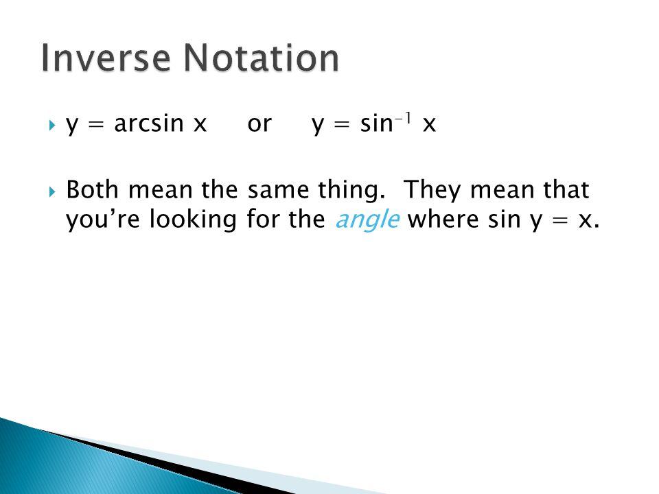yy = arcsin x or y = sin -1 x BBoth mean the same thing.