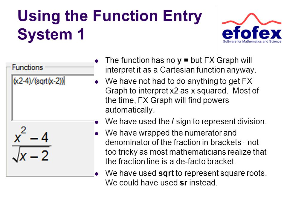Using the Function Entry System 1 The function has no y = but FX Graph will interpret it as a Cartesian function anyway.