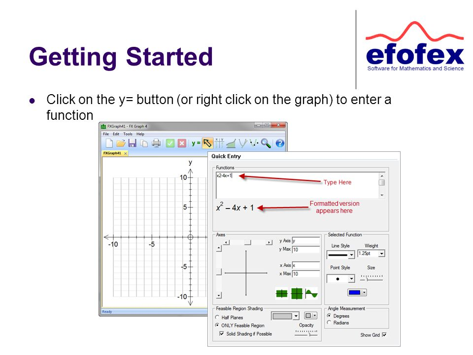 Getting Started Click on the y= button (or right click on the graph) to enter a function