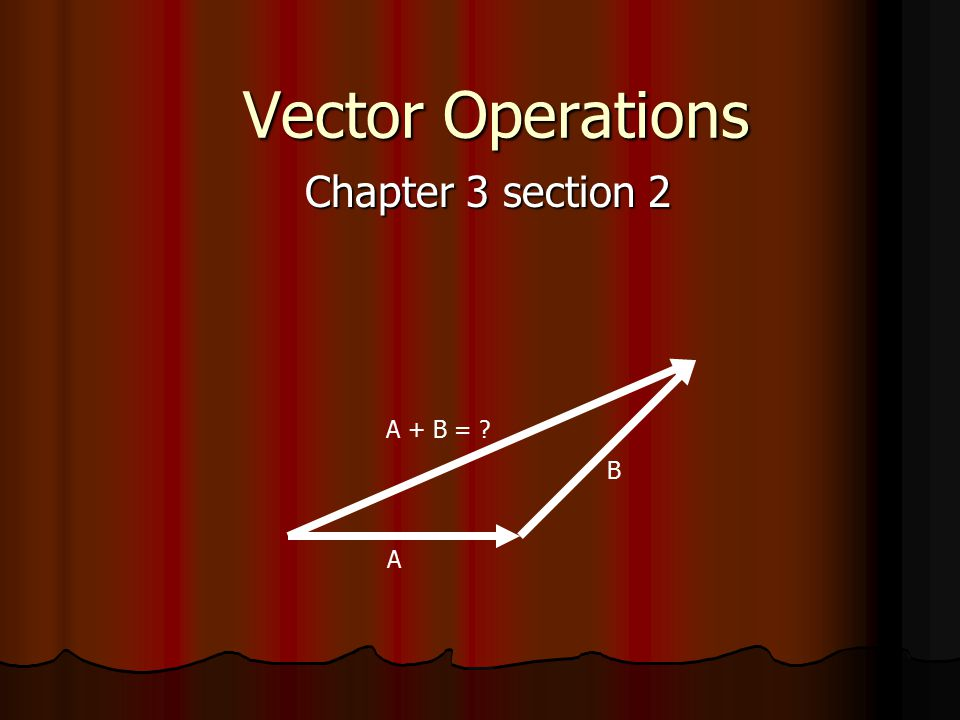 Vector Operations Chapter 3 section 2 A + B = ? A B