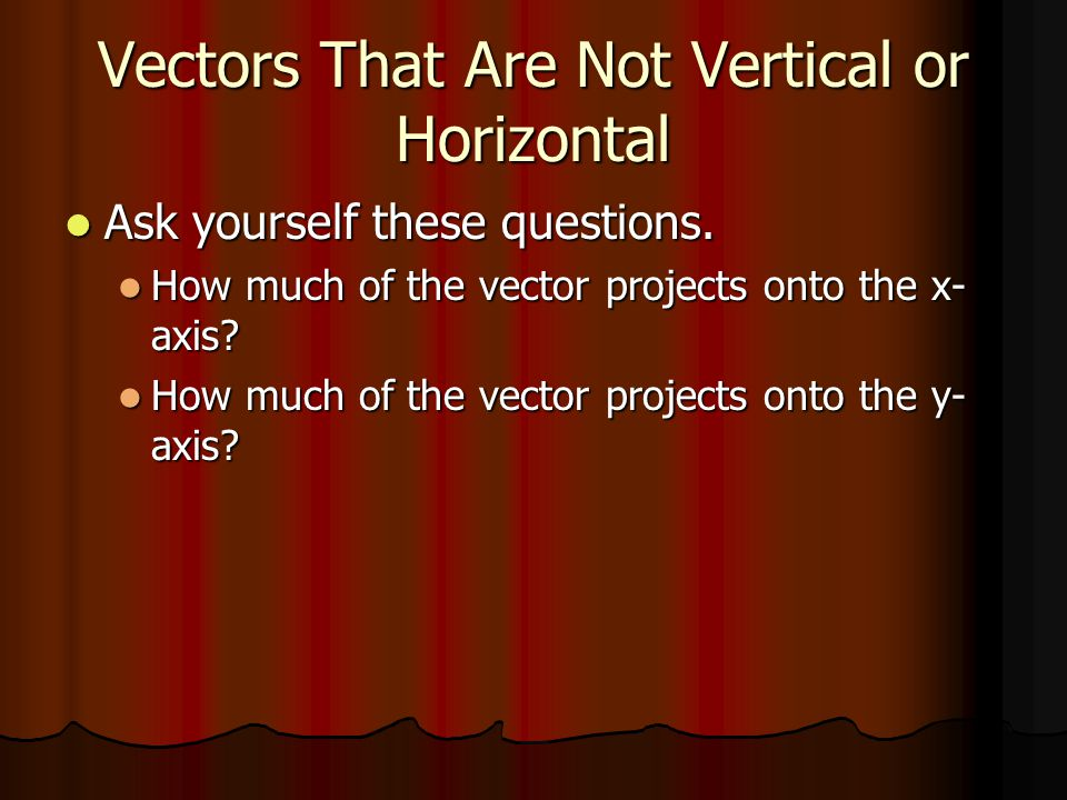Vectors That Are Not Vertical or Horizontal Ask yourself these questions. Ask yourself these questions. How much of the vector projects onto the x- ax