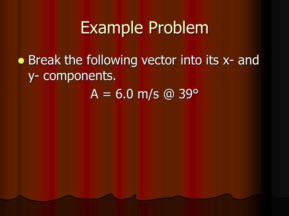 Example Problem Break the following vector into its x- and y- components. Break the following vector into its x- and y- components. A = 6.0 m/s @ 39°