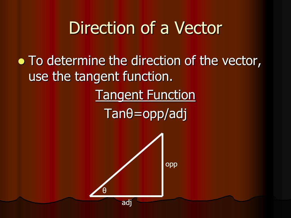 Direction of a Vector To determine the direction of the vector, use the tangent function. To determine the direction of the vector, use the tangent fu