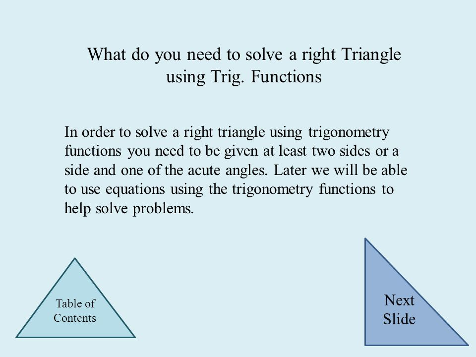 There are six trigonometry functions which are Sine, Cosine, Tangent, Secant, Cosecant and Cotangent. Represented respectively as Sin Ѳ, Cos Ѳ, Tan Ѳ,