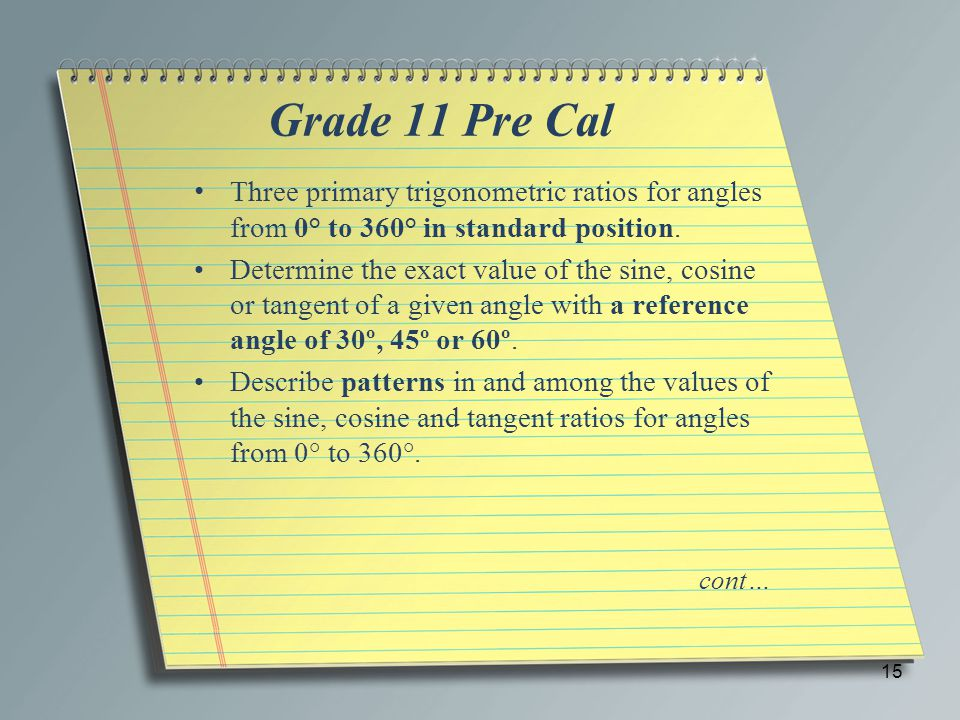 Grade 11 Pre Cal Three primary trigonometric ratios for angles from 0° to 360° in standard position.