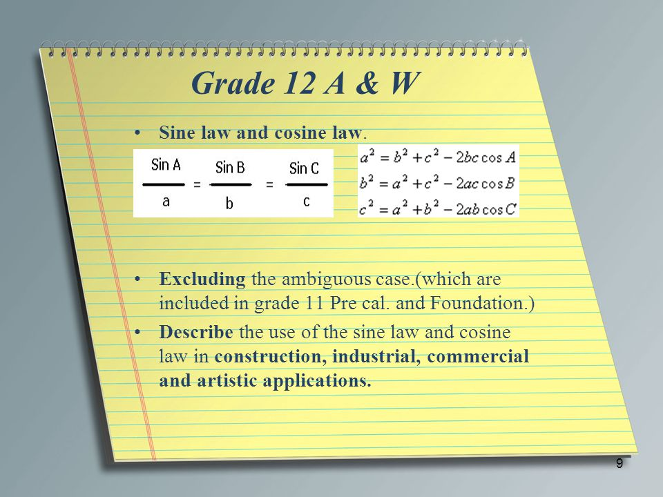 Grade 12 A & W Sine law and cosine law.