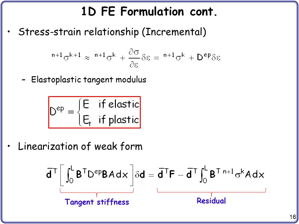 16 1D FE Formulation cont. Stress-strain relationship (Incremental) –Elastoplastic tangent modulus Linearization of weak form Tangent stiffness Residu