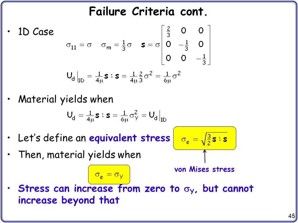45 Failure Criteria cont. 1D Case Material yields when Let's define an equivalent stress Then, material yields when Stress can increase from zero to 