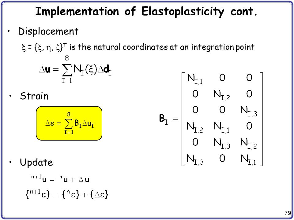 79 Implementation of Elastoplasticity cont. Displacement  = { , ,  } T is the natural coordinates at an integration point Strain Update