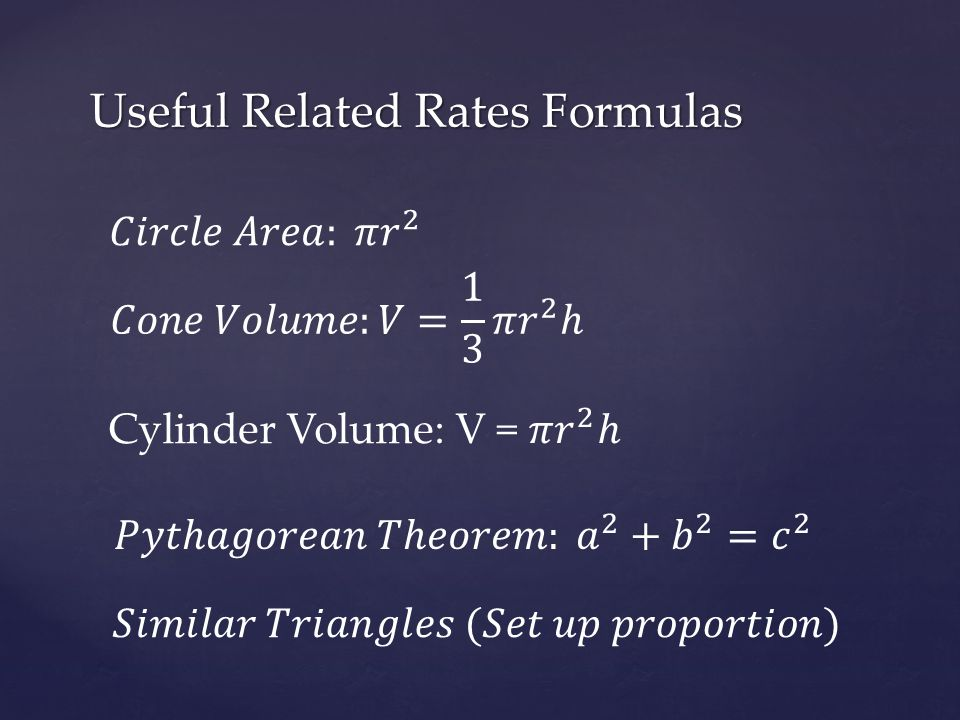 Useful Related Rates Formulas