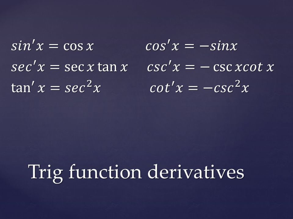 Differentiate: Co-Functions: Negative!!