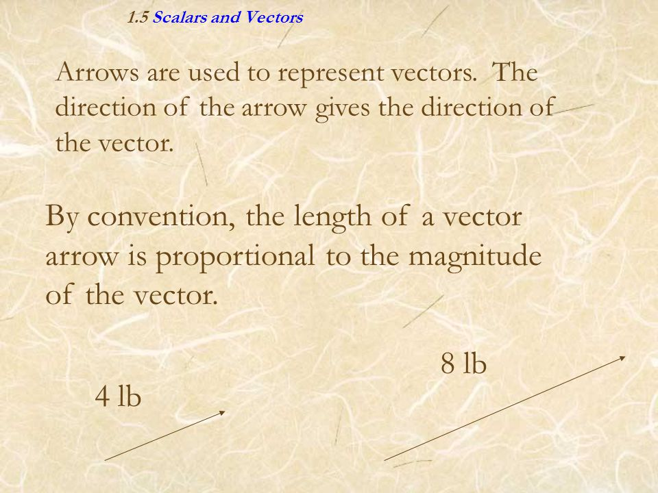 1.5 Scalars and Vectors By convention, the length of a vector arrow is proportional to the magnitude of the vector. 8 lb 4 lb Arrows are used to repre