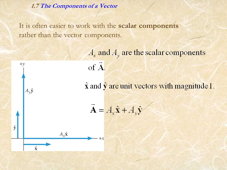 It is often easier to work with the scalar components rather than the vector components.