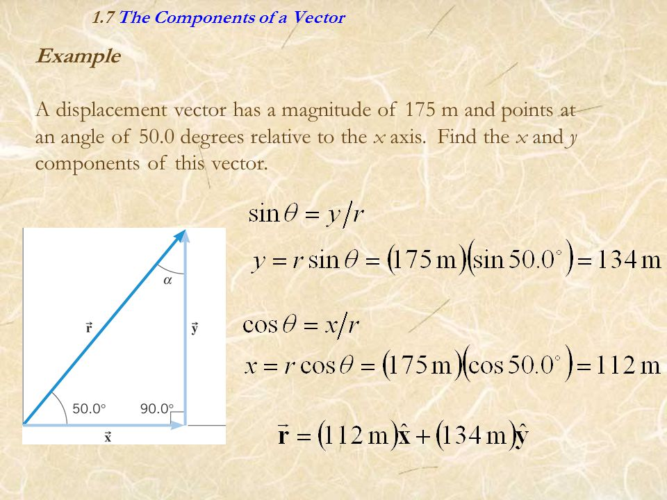 1.7 The Components of a Vector Example A displacement vector has a magnitude of 175 m and points at an angle of 50.0 degrees relative to the x axis. F