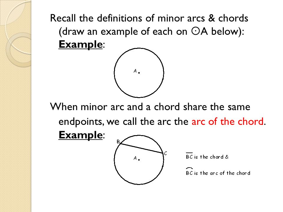 Recall the definitions of minor arcs & chords (draw an example of each on  A below): Example: When minor arc and a chord share the same endpoints, we call the arc the arc of the chord.