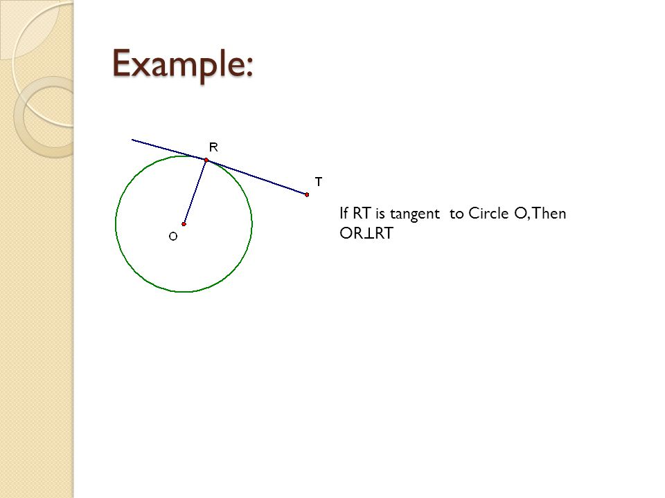 Example: If RT is tangent to Circle O, Then OR  RT
