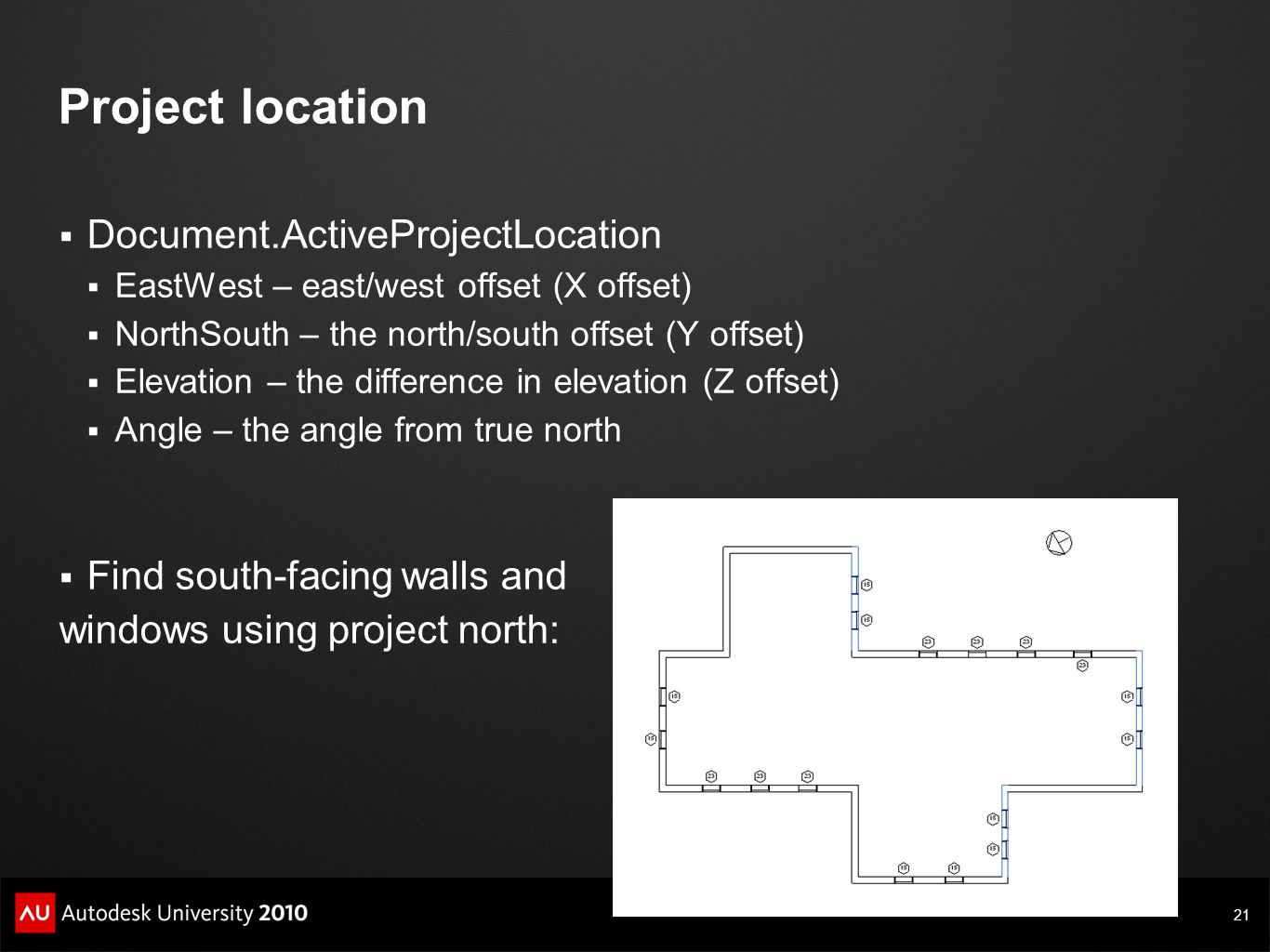 21 Project location  Document.ActiveProjectLocation  EastWest – east/west offset (X offset)  NorthSouth – the north/south offset (Y offset)  Eleva