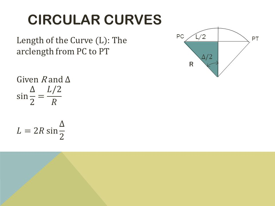 CIRCULAR CURVES PT PC Δ/2 L/2 R