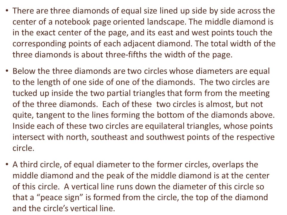 There are three diamonds of equal size lined up side by side across the center of a notebook page oriented landscape.