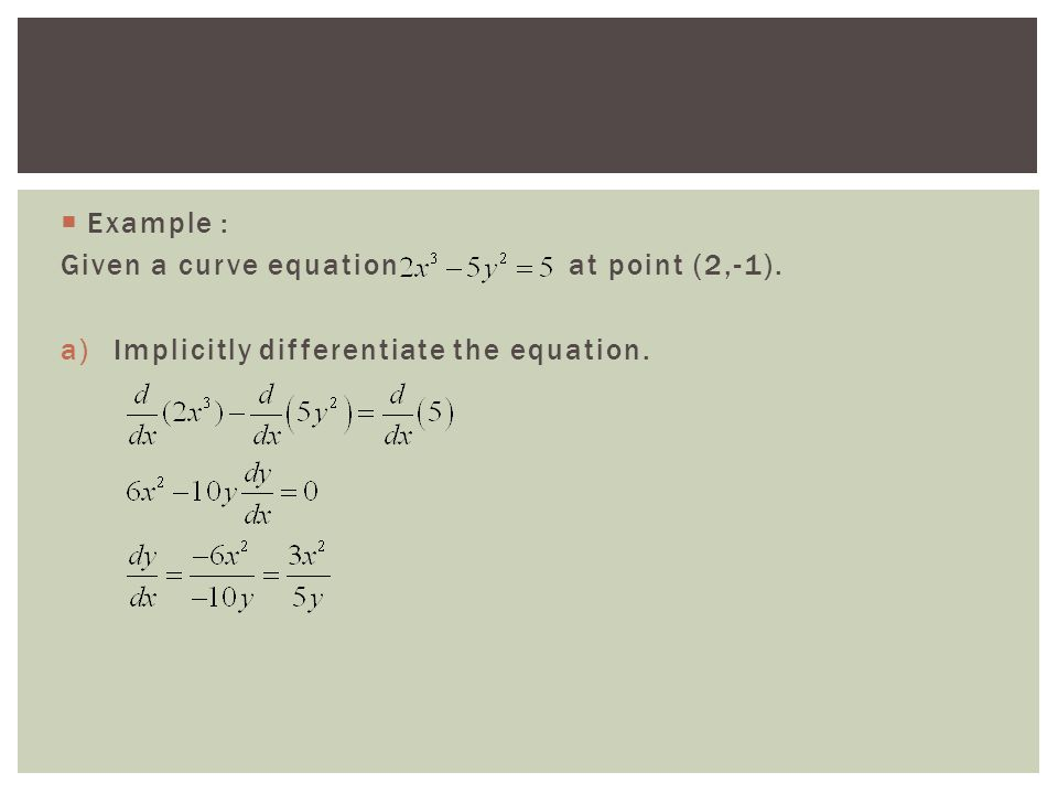  Example : Given a curve equation at point (2,-1). a)Implicitly differentiate the equation.