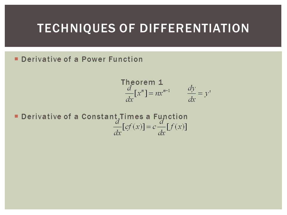  Derivative of a Power Function Theorem 1  Derivative of a Constant Times a Function TECHNIQUES OF DIFFERENTIATION