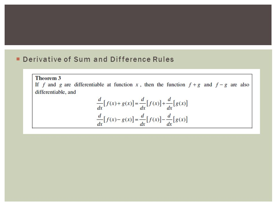  Derivative of Sum and Difference Rules
