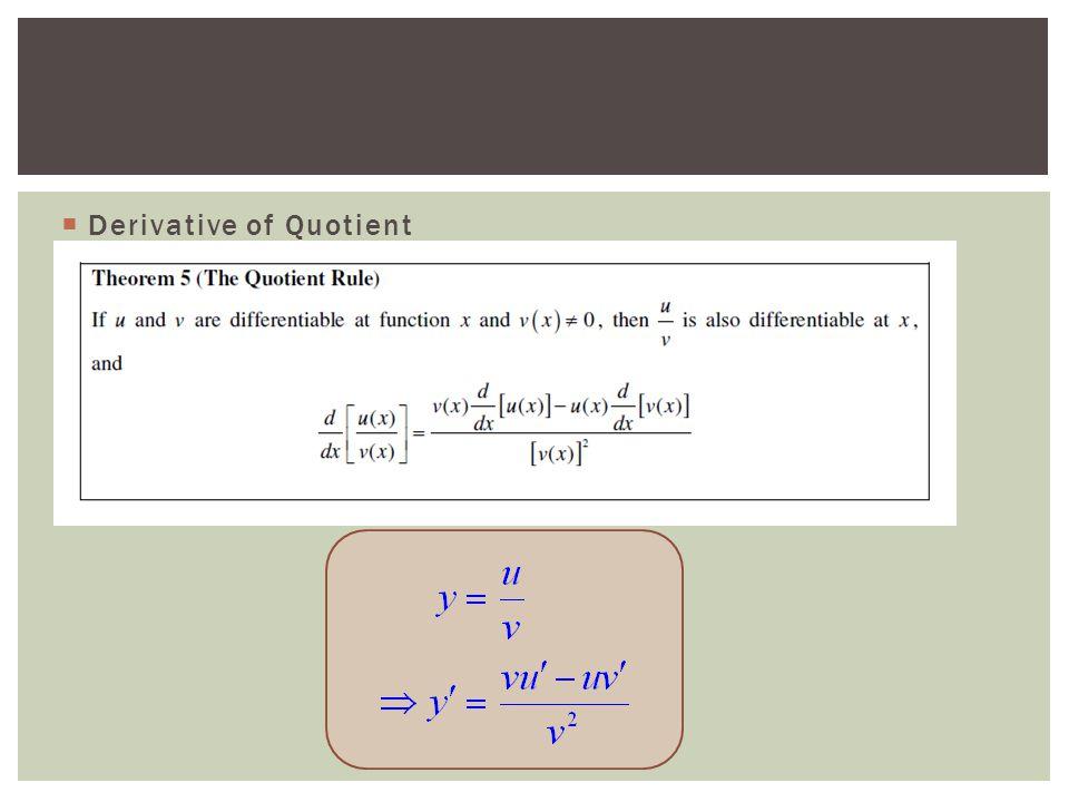  Derivative of Quotient