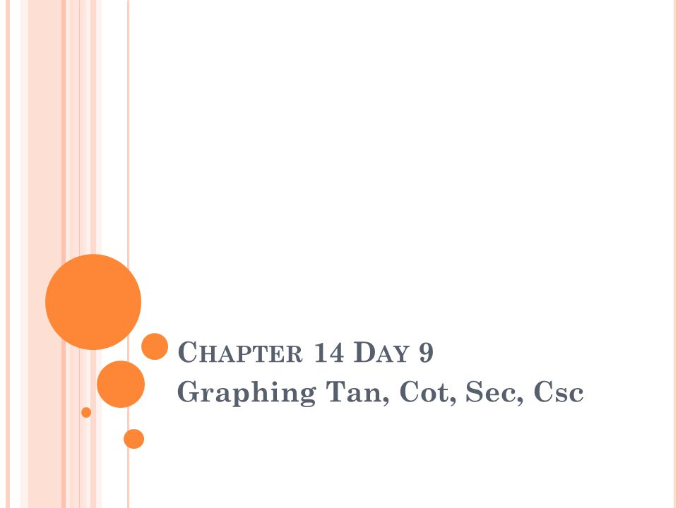 C HAPTER 14 D AY 9 Graphing Tan, Cot, Sec, Csc