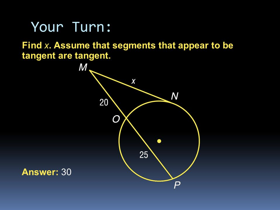 Find x. Assume that segments that appear to be tangent are tangent. Answer: 30 Your Turn: