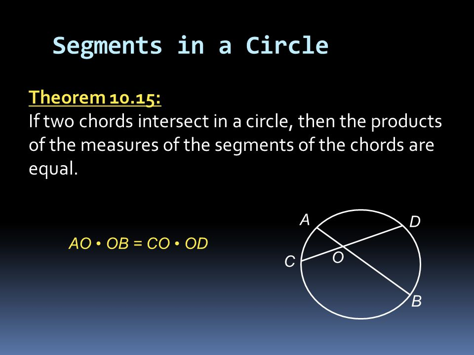 Segments in a Circle Theorem 10.15: If two chords intersect in a circle, then the products of the measures of the segments of the chords are equal.