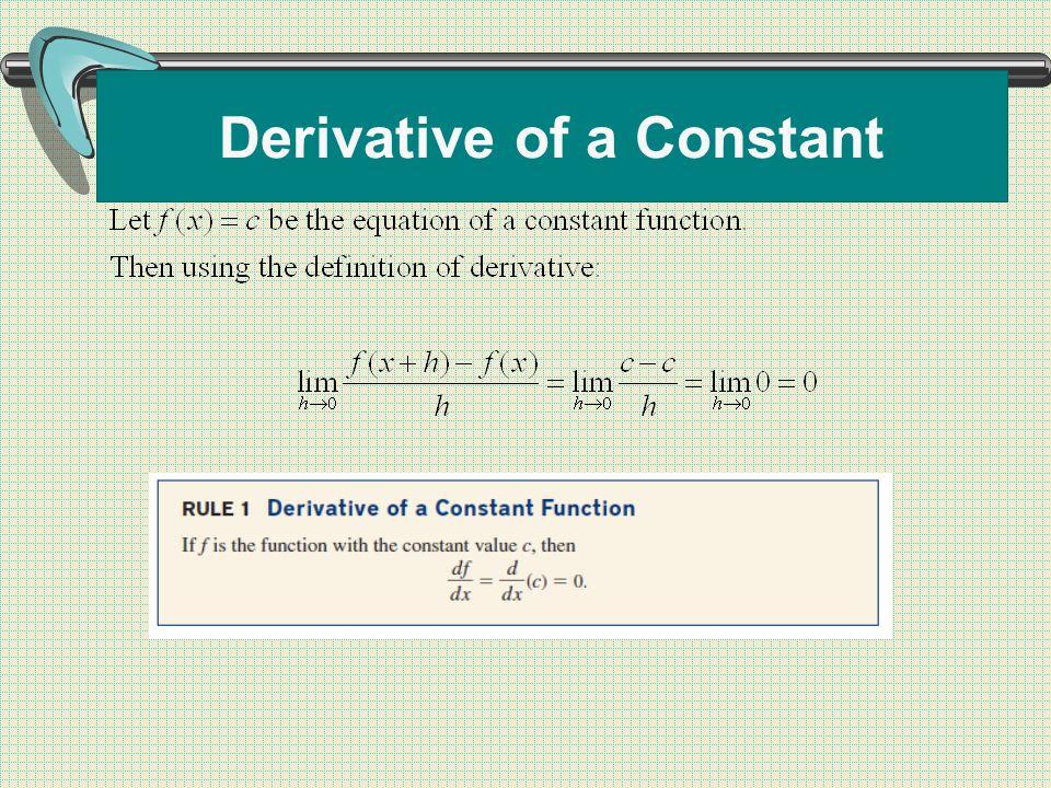 Derivative of a Constant