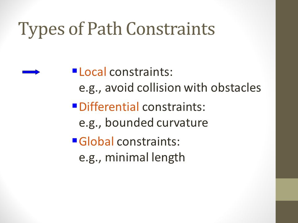 Types of Path Constraints  Local constraints: e.g., avoid collision with obstacles  Differential constraints: e.g., bounded curvature  Global constraints: e.g., minimal length