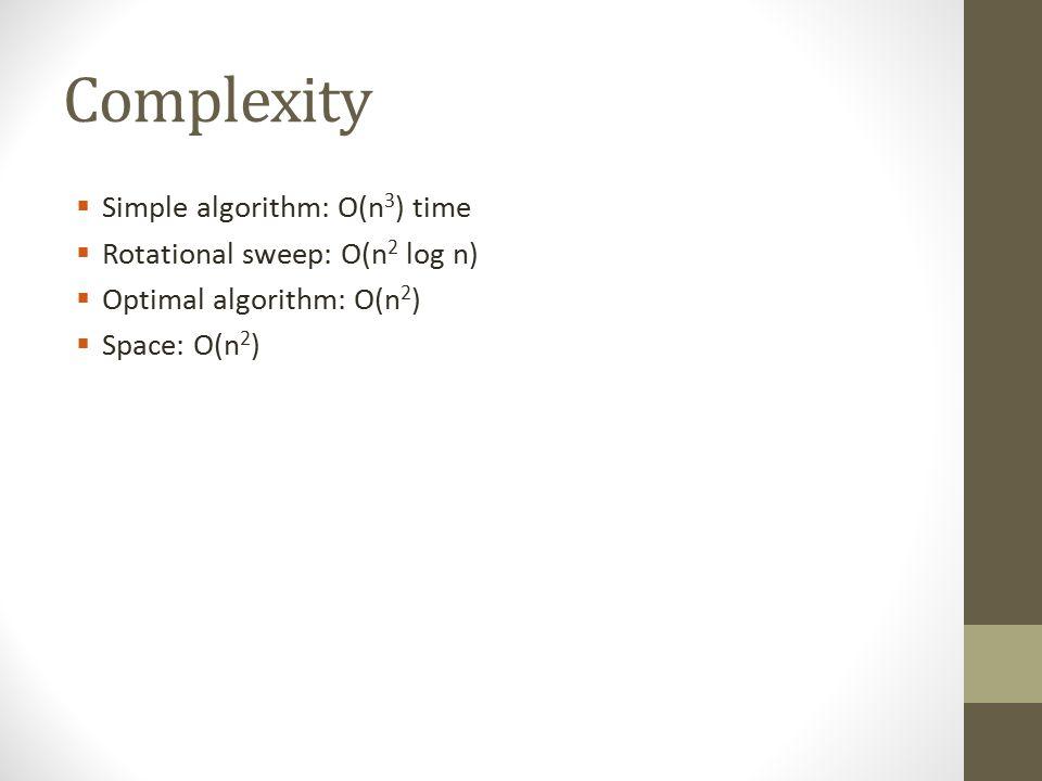 Complexity  Simple algorithm: O(n 3 ) time  Rotational sweep: O(n 2 log n)  Optimal algorithm: O(n 2 )  Space: O(n 2 )