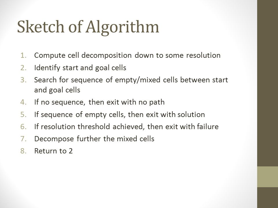 Sketch of Algorithm 1.Compute cell decomposition down to some resolution 2.Identify start and goal cells 3.Search for sequence of empty/mixed cells between start and goal cells 4.If no sequence, then exit with no path 5.If sequence of empty cells, then exit with solution 6.If resolution threshold achieved, then exit with failure 7.Decompose further the mixed cells 8.Return to 2