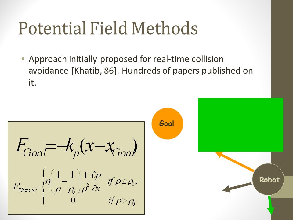 Potential Field Methods Approach initially proposed for real-time collision avoidance [Khatib, 86].