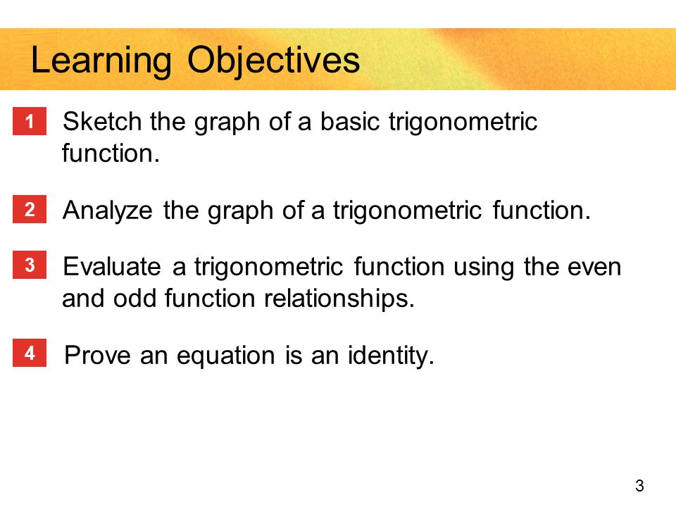 3 Sketch the graph of a basic trigonometric function. Analyze the graph of a trigonometric function. Evaluate a trigonometric function using the even