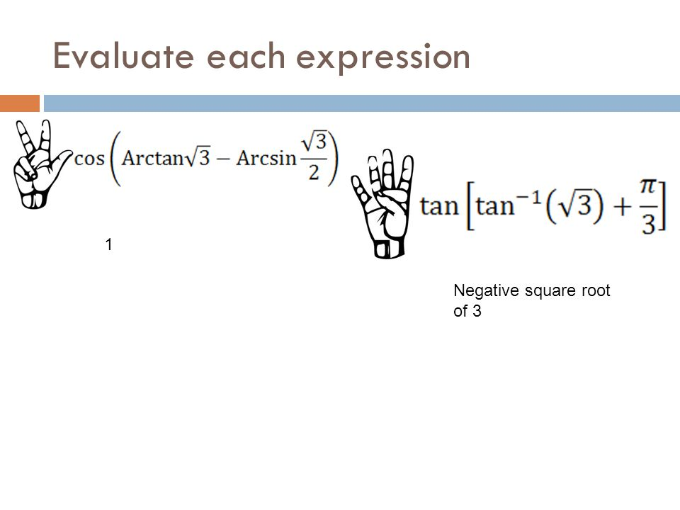 Evaluate each expression 1 Negative square root of 3