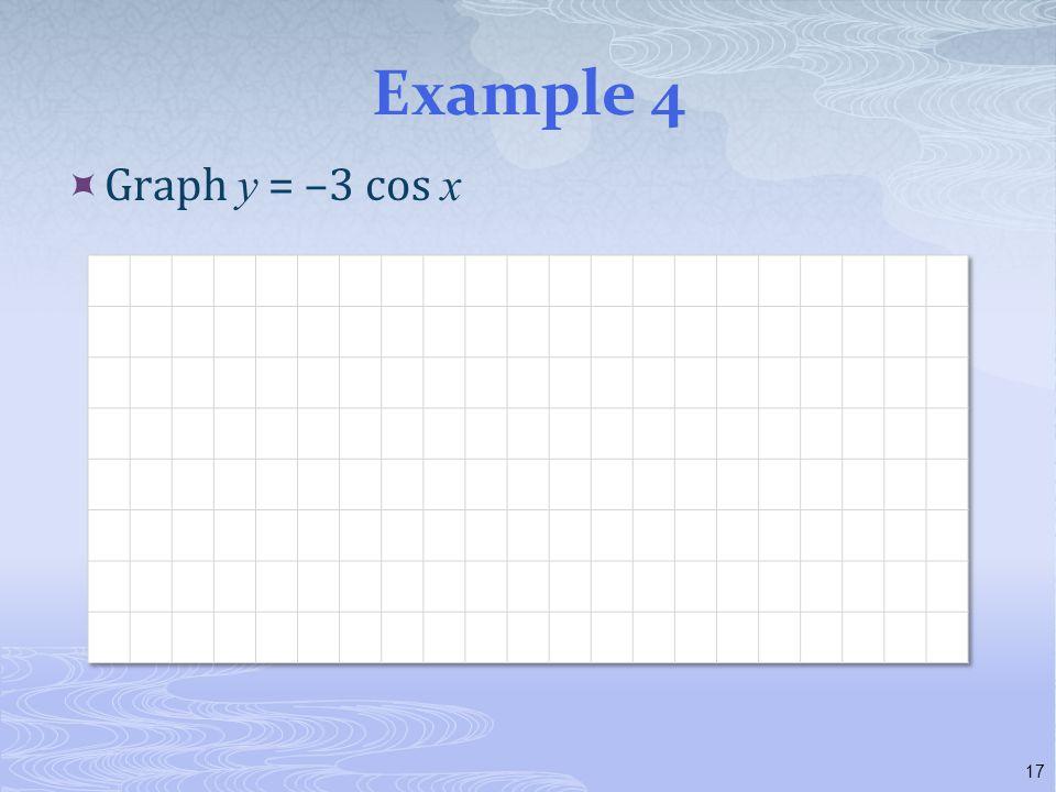 Example 4  Graph y = –3 cos x 17