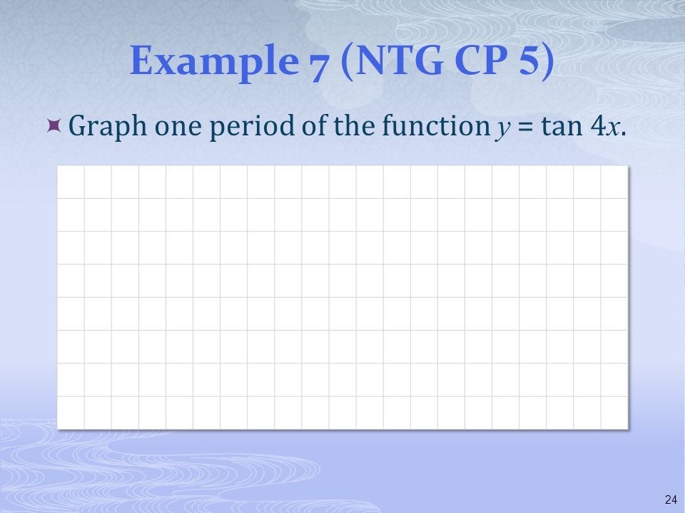 Example 7 (NTG CP 5 )  Graph one period of the function y = tan 4 x. 24