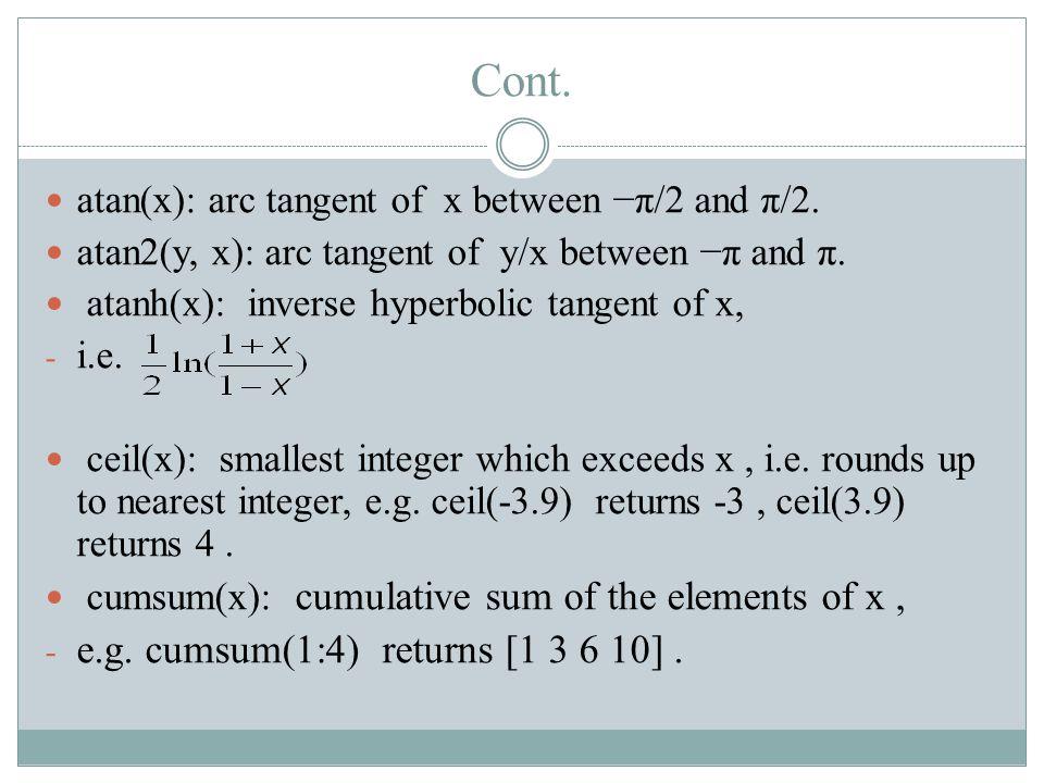Cont. atan(x): arc tangent of x between −π/2 and π/2.