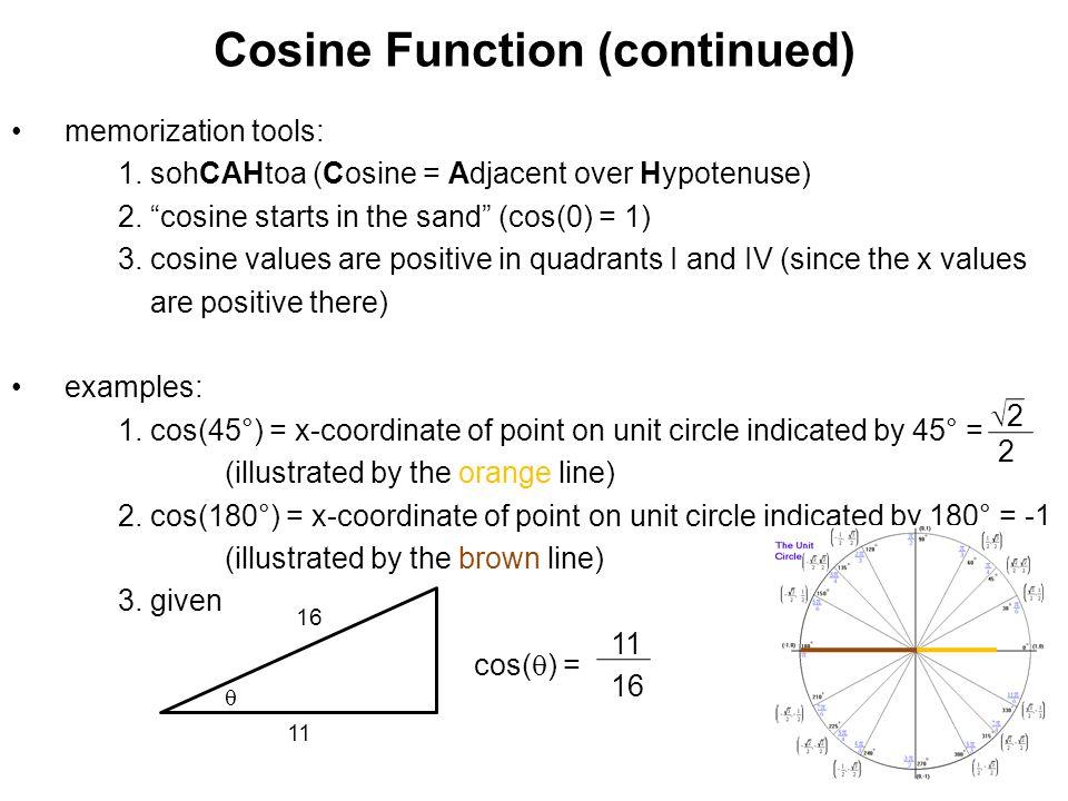 "Cosine Function (continued) memorization tools: 1. sohCAHtoa (Cosine = Adjacent over Hypotenuse) 2. ""cosine starts in the sand"" (cos(0) = 1) 3. cosine"