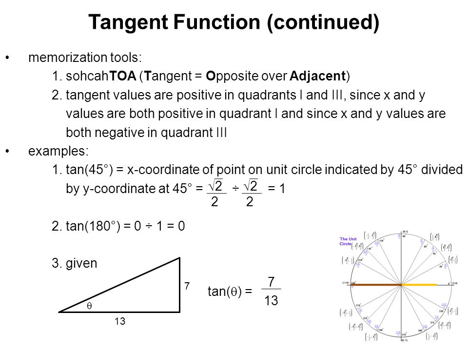 Tangent Function (continued) memorization tools: 1. sohcahTOA (Tangent = Opposite over Adjacent) 2. tangent values are positive in quadrants I and III