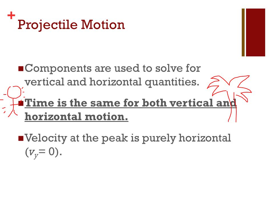 + Projectile Motion Components are used to solve for vertical and horizontal quantities. Time is the same for both vertical and horizontal motion. Vel