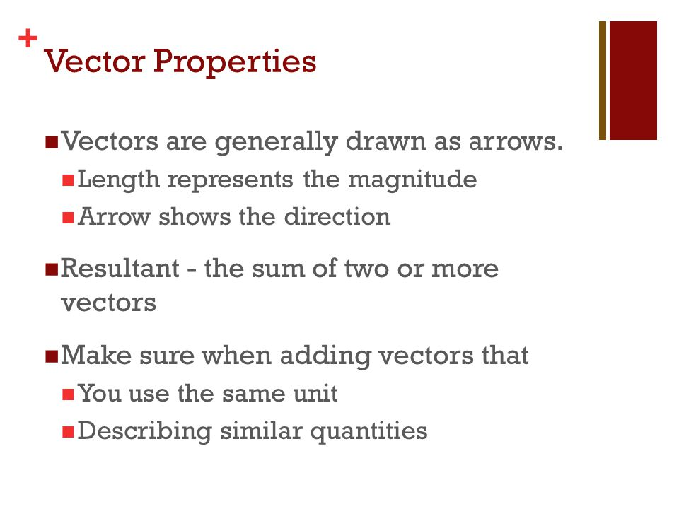 + Finding the Resultant Graphically Method Draw each vector in the proper direction.