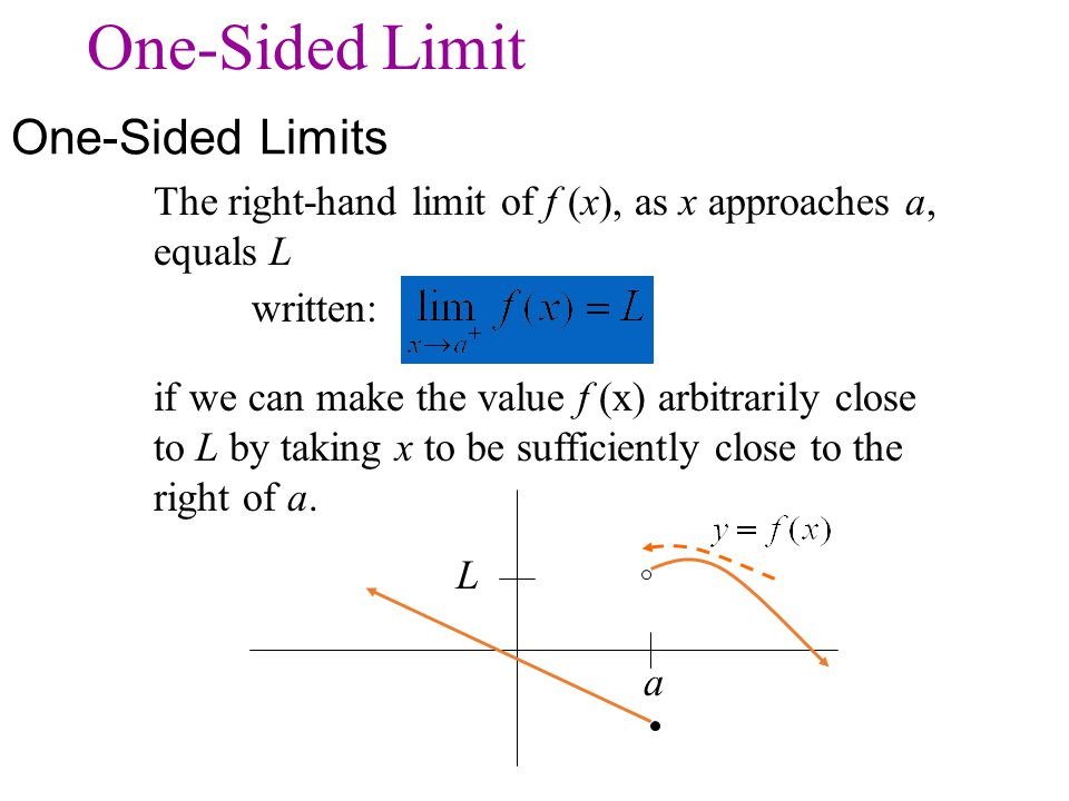 The right-hand limit of f (x), as x approaches a, equals L written: if we can make the value f (x) arbitrarily close to L by taking x to be sufficient