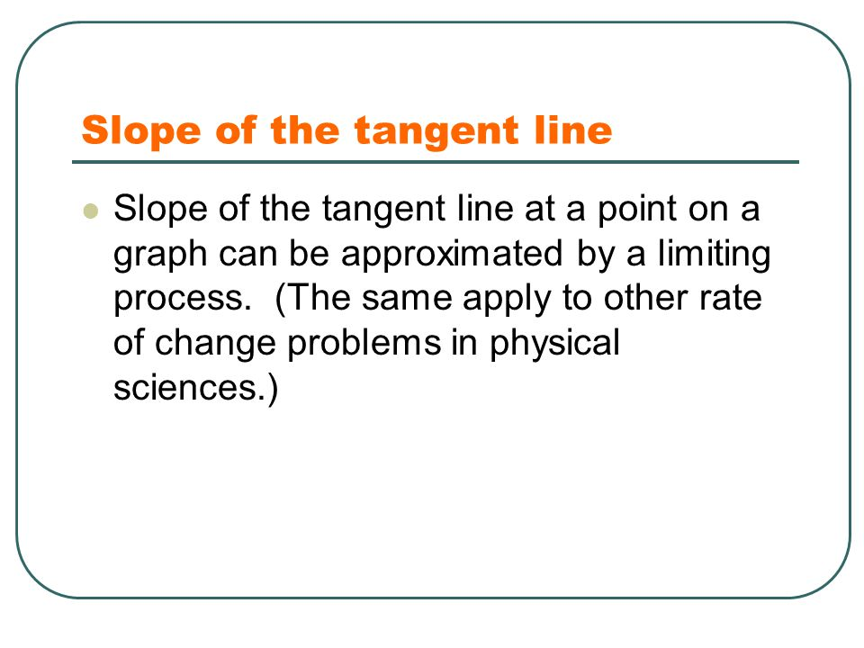 Slope of the tangent line Slope of the tangent line at a point on a graph can be approximated by a limiting process. (The same apply to other rate of