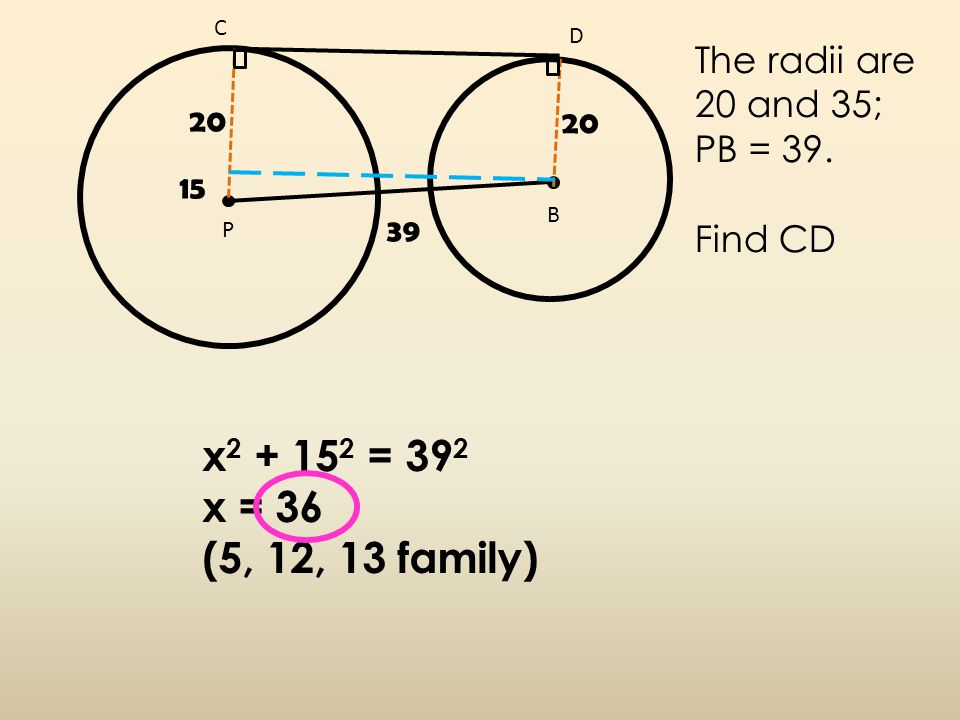 B C D P 20 The radii are 20 and 35; PB = 39.