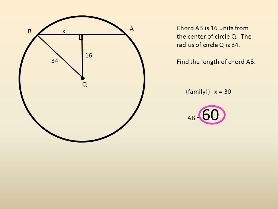 A B Q Chord AB is 16 units from the center of circle Q.