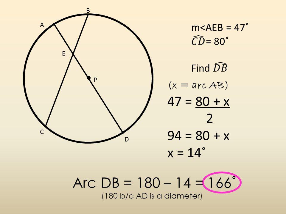 A B C D P E (x = arc AB) 47 = 80 + x 2 94 = 80 + x x = 14˚ Arc DB = 180 – 14 = 166˚ (180 b/c AD is a diameter)